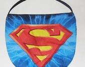Superhero Purse - Shoulder Bag Style - Steel Blue - made with vintage superhero fabric - upcycled