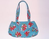 Cherry Blossoms Purse -- Small Satchel Style -- made with vintage floral feedsack fabric