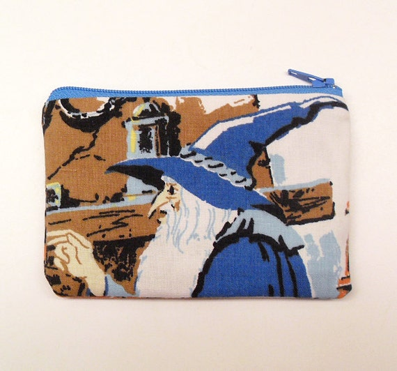 Lord of the Rings Fellowship Hobbit Zipper Pouch - Make to Order LIMITED EDITION --  made with vintage LotR fabric