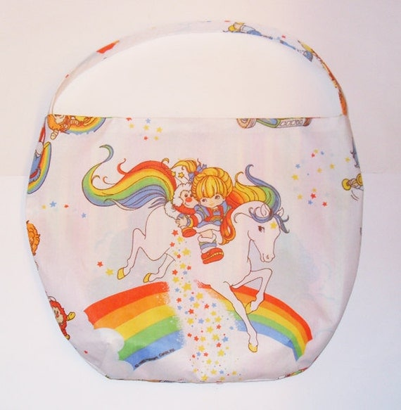 Rainbow Brite and Color Kids Purse - Shoulder Bag Style -Springtime in Rainbowland - made with vintage Rainbow Brite fabric - upcycled