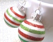 Christmas In July Sale Christmas Sparkly  Green, Lime Green, Bright Red, and White Candy Cane Stripped Mini Ornament Earrings LAST PAIR