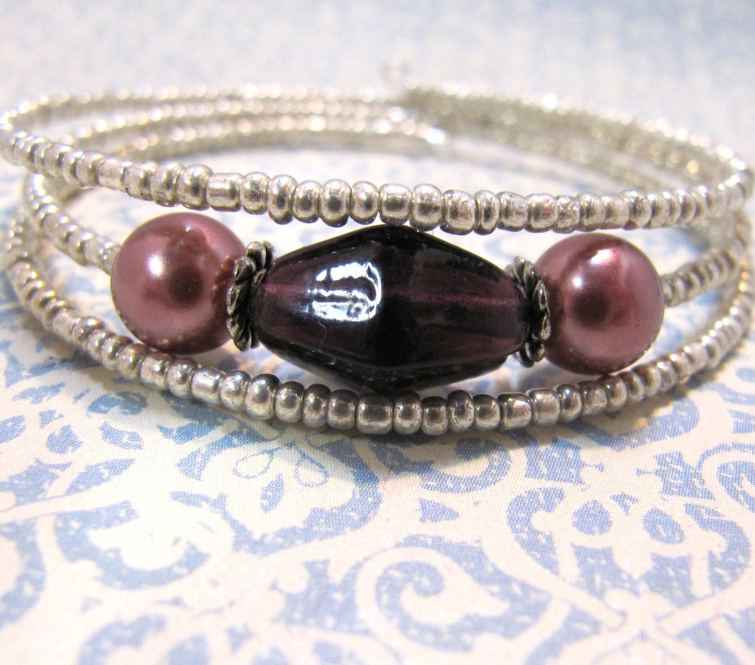 Wire Bracelets With Charms 2: Beaded Memory Wire Bracelet Plum Purple And Mocha Brown Mauve