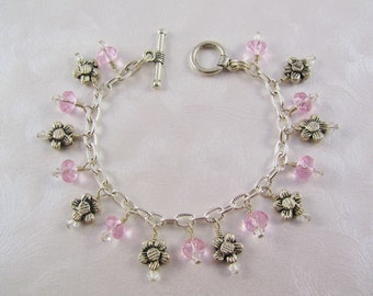 Little Girls Bracelet - Daisies and Pink Crystals - Charm Bracelet