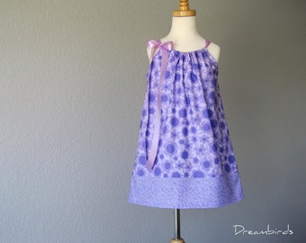 Little Girls Purple Pillowcase Dress - Bold Flowers in Lavender and Violet - Girls Purple Sun Dress -  Size 12m, 18m, 2T, 3T, 4T, 5, or 6