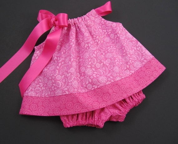Baby Girls Pink Pillowcase Dress and Bloomers Outfit - Rose Pink Baby Dress - Size  Newborn, 3m, 6m, 9m, 12m or 18m