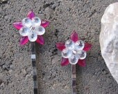 Hot Pink  Flower Crystal Hair Pins