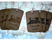 Train- Thank you- Gift tags/Favor tags set of 12- Vintage Inspired
