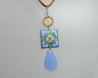 REDUCED - Blue Cloisonne Pendant