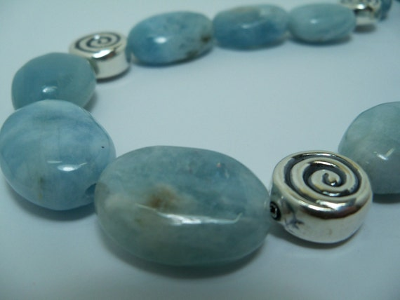 25% OFF - Aquamarine and Sterling Spirals Necklace