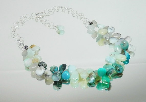 Peruvian Blue Opal Briolette Drop Necklace