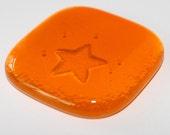 Tangerine Star Glass Pocket Charm - Worry Stone