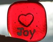 Red Joy Heart Glass Pocket Charm - Worry Stone