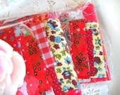 Mini Scrap Pack of Vintage Fabrics  / Strawberry Fields / Vintage Fabric / Quilting / Scrap Bag