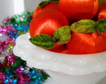 Mini Vintage Red Silk Apple / Ornaments / Lot of 10