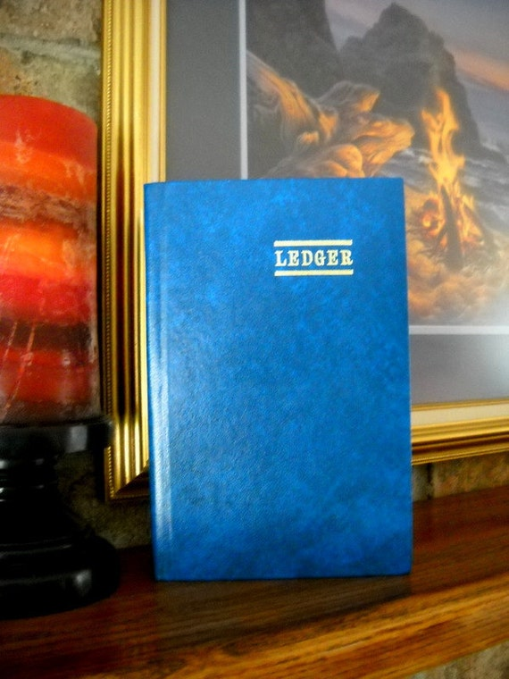 Charming Vintage Record Ledger Journal Book - Aqua Blue