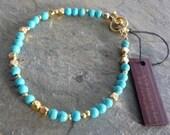 Turquoise and gold gemstone bracelet, turquoise gemstone bracelet, blue turquoise gemstone and gold bracelet, gold gemstone beaded bracelet