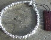 Silver beaded bracelet, silver hammered beaded bracelet, wedding silver bracelet, bridal silver bracelet, beaded bracelet silver