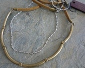 Ethnic brass necklace and fine silver chain - leather necklace