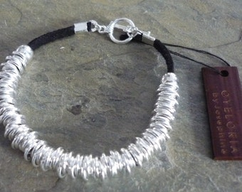 Silver links bracelet, silver links black leather bracelet, silver beaded links bracelet with black suede, silver links stacking bracelet