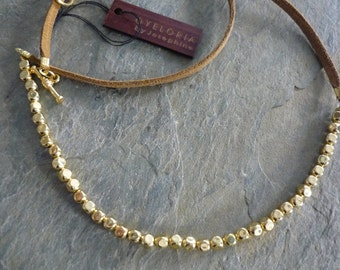 Wedding gold necklace - Gold beaded necklace for wedding - brown leather gold necklace