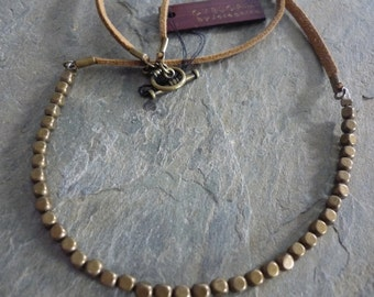 Brown leather and brass beaded necklace - ethnic brass beaded necklace