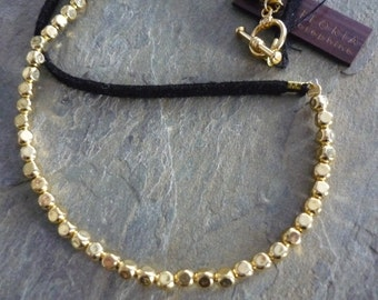 Gold beaded necklace, black leather beaded necklace, gold beaded black necklace, black suede necklace, gold necklace beaded