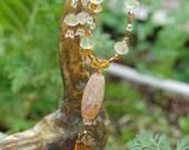 Vintage Crystal Vaseline Glass Necklace Earrings set
