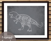 Tyrannosaurus Rex aka T-Rex, Dinosaur Butcher Diagram Series - Art Print (Featured in Charcoal) (Buy 3 and get One Free)