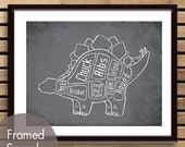 Stegosaurus, Dinosaur Butcher Diagram Series - Art Print (Featured in Charcoal) (Buy 3 and get One Free)