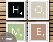 HOME Scrabble Tiles - Set of 4 Art Prints (Featured in Black, French Grey, Thyme Green and Latte Brown) Modern Gameboard