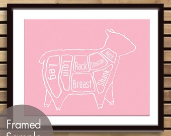 Lamb Butcher Diagram of a Sheep - Art Print (Featured in Pink Lemonade) (Buy 3 and get One Free)