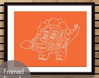 Stegosaurus, Dinosaur Butcher Diagram Series - Art Print (Featured in Crimson Orange) (Buy 3 and get One Free)