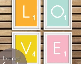 LOVE Scrabble Prints - Set of 4 - ART Prints (Featured in Clementine, Duck Egg, Canary and Pink Lemonade) Modern Game Board