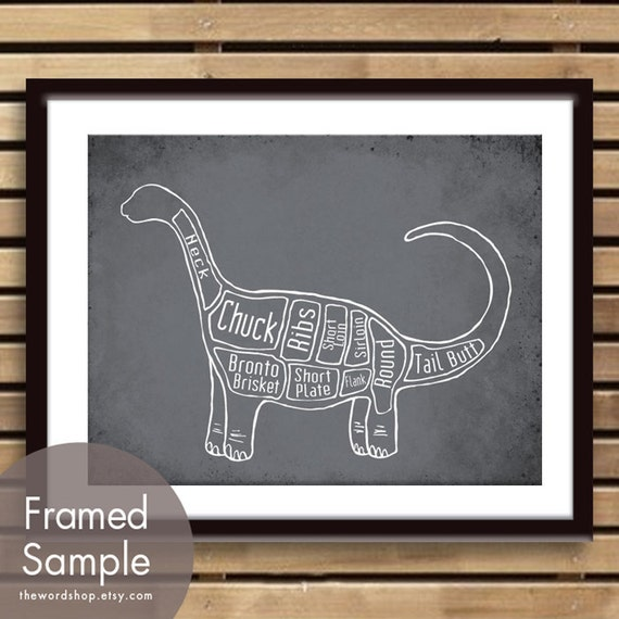 Brontosaurus, Dinosaur Butcher Diagram Series - Art Print (Featured in Charcoal) (Buy 3 and get One Free)