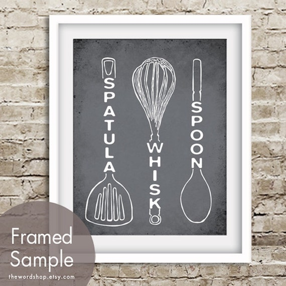 Spatula Whisk Spoon (Kitchen Utensil Art) Art Print (Featured in Charcoal) Buy 3 Get One Free