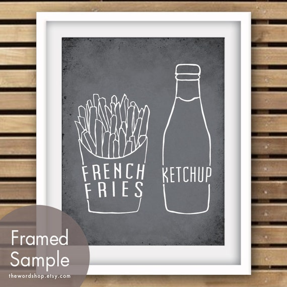 French Fries and Ketchup - Art Print (Featured in Charcoal ) (Buy 3 and get One Free) BBQ Party / Kitchen Print