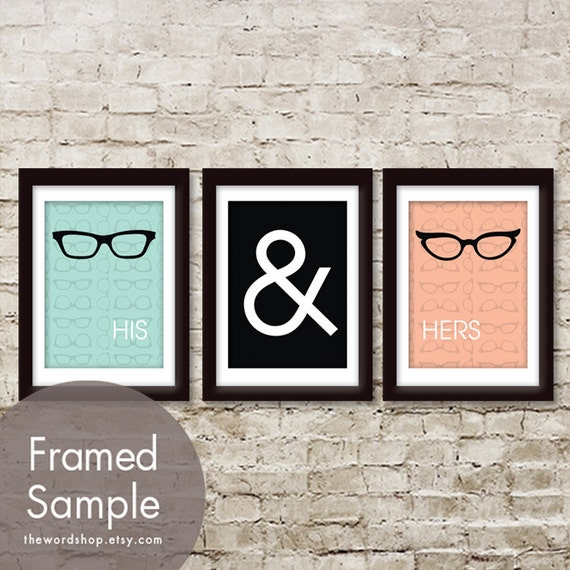 His and Hers (glasses) -Set of 3 - Art Prints (Featured in Blushed Peach, Black and Duck Egg)