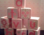 Alphabet Wooden Blocks,Very Girly and Pink, Love is in the air block set
