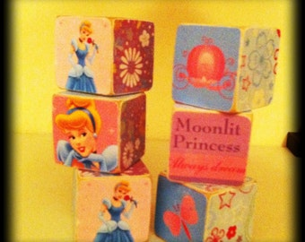 Cindrella Princess personalized wood blocks - custom cindrella blocks - personalized cindrella - kids cindrella - personalized princess