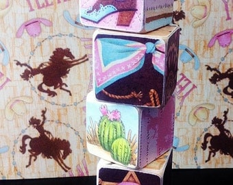 Personalized Wood cowgirl Name Blocks - kids gifts, - baby Name gifts - birthday party - cowboy - room decor - nursery decor - photo props