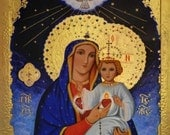 Virgin Mary and the Baby Jesus ORIGINAL Icon ready to frame  11x14 print