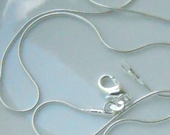 1 22 inch silver plated 1mm snake chain with Lobster Claw Clasp   FAST SHIPPING