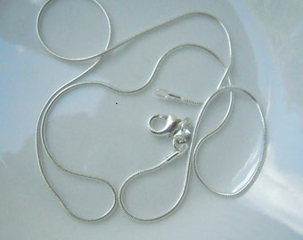 5 18 inch silver plated  1mm snake chains