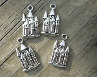 4 - Cinderellas Castle Pewter Pendants or Charms