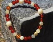 Joy Gemstone Bracelet with Amber and Carnelian Beads