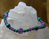 Boost Your Immune System Gemstone Bracelet with Amethyst and Malachite Beads