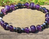 Headache Relief Gemstone Bracelet with Amethyst and Hematite Beads