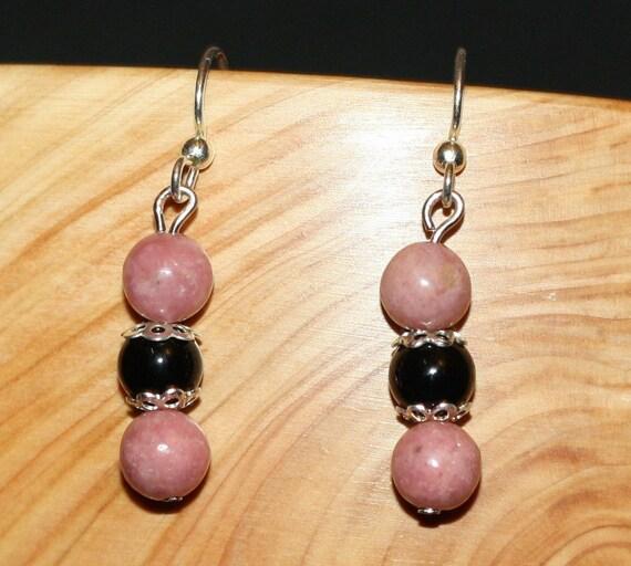 Black Onyx and Rhodonite Gemstone Earrings