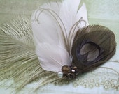 Brown and Purple Beauty - Bridal Feather Hair Clip, Comb, Fascinator or Brooch