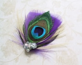 Feather, Hair, peacock, purple, Accessories, Bridal Fascinator, Clip, Wedding, Accessory, ivory, cream - PEACOCK PURPLE